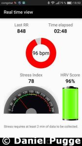 Messung nach dem Intervalltraining und 10 min Erholungszeit